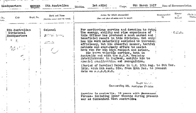Schön Recommendation For Colonel Brucheu0027s Appointment To The CMG